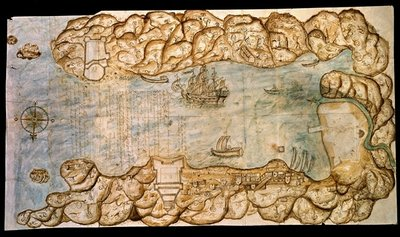 Bahia and the city of Portobello, 1688 Fine Art Print by Spanish School