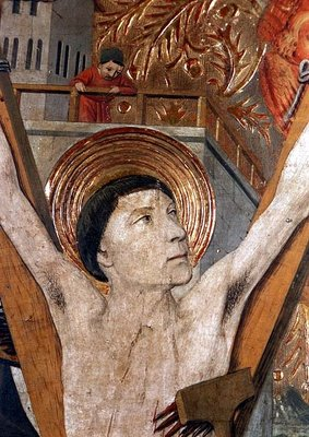 The Martyrdom of St. Vincent, detail of Vincent on the cross, 1458-60 Fine Art Print by Jaume Huguet