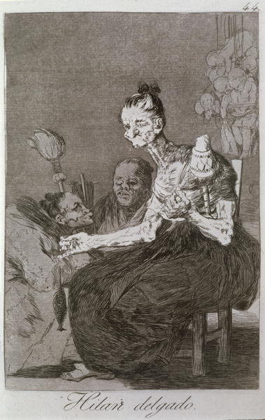 193-0082144 They spin finely, plate 44 of 'Los caprichos', 1799 Poster Art Print by Francisco Jose de Goya y Lucientes