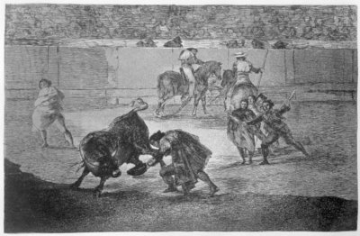 Pepe Hillo making the pass of the 'recorte', plate 29 of 'The Art of Bullfighting', pub. 1816 Fine Art Print by Francisco Jose de Goya y Lucientes