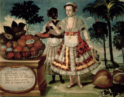 Distinguished woman with her negro slave, 1783 Fine Art Print by Vicente Alban