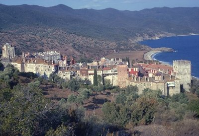 General view of the monastery and coast Poster Art Print by Anonymous