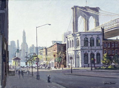 Brooklyn Bridge, New York (oil on canvas) Wall Art & Canvas Prints by Julian Barrow