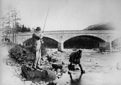 General Grey fishing at the bridge of Dee, c.1892 Wall Art & Canvas Prints by English Photographer