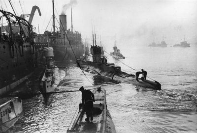 Submarines leaving the ship depot at Harwich Fine Art Print by Thomas E. & Horace Grant Grant