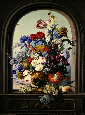 Still life of a niche with flowers Fine Art Print by Johann Baptist Drechsler