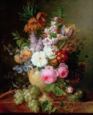 Still life with flowers and grapes Fine Art Print by Cornelis van Spaendonck