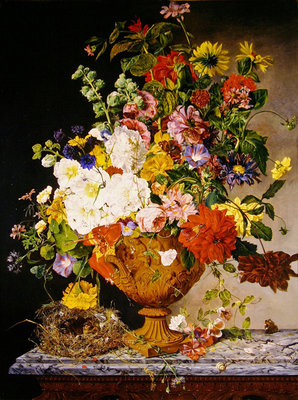 A sumptuous bouquet in a terracotta vase on a marble ledge Fine Art Print by Emily Stannard