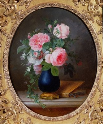 Still life with flowers and a book, 1775 Poster Art Print by Anne Vallayer-Coster