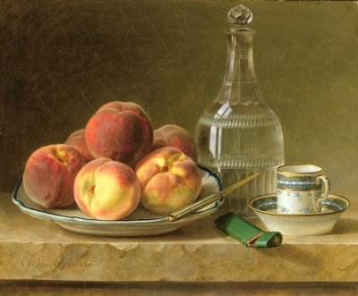 Still life with peaches Fine Art Print by Gerard van Spaendonck