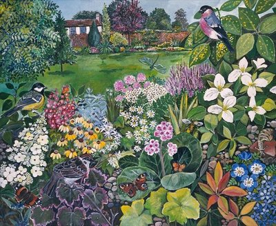 The Garden with Birds and Butterflies Fine Art Print by Hilary Jones