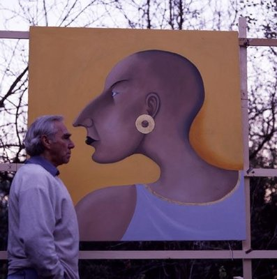 The artist in front of Women in Profile Series, No.7, 1998 Fine Art Print by John Wright