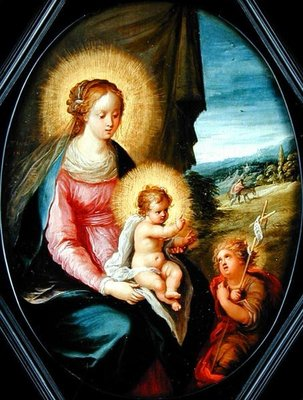 Madonna and Child with the infant St. John Wall Art & Canvas Prints by Frans II the Younger Francken