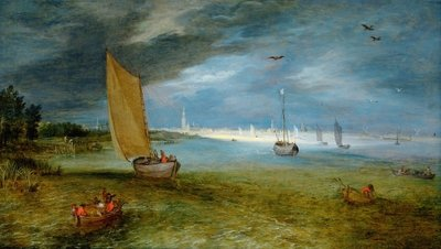 A view of the Scheldt with Antwerp beyond Wall Art & Canvas Prints by Jan the Younger Brueghel