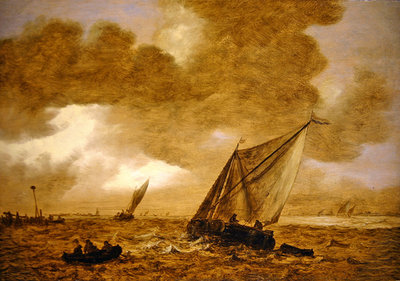 Dutch shipping on choppy seas, 1653 Fine Art Print by Jan Josephsz. van Goyen