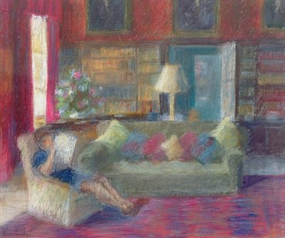 Library at ThorpePerrow (pastel on paper) Wall Art & Canvas Prints by Karen Armitage