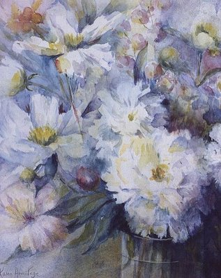 Peonies - Festive Maxima Wall Art & Canvas Prints by Karen Armitage