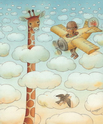 Giraffe, 2005 (w/c on paper) Postcards, Greetings Cards, Art Prints, Canvas, Framed Pictures, T-shirts & Wall Art by Kestutis Kasparavicius