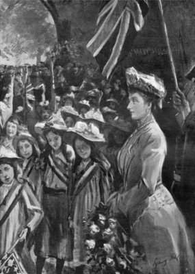 Princess Louise reviewing twenty thousand children in Battersea Park, illustration from 'The Graphic', July 19th 1902 Fine Art Print by Sydney Prior Hall