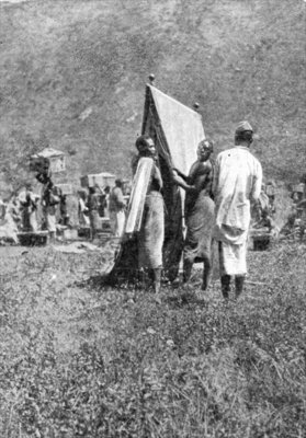 Making camp at the End of a Day's March, from an article entitled 'To the Mountains of the Moon' published in 'The Graphic' October 27th 1906 Fine Art Print by English Photographer