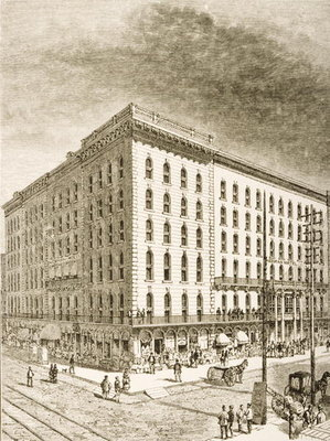 The Sherman Hotel, Chicago, in c.1870, from 'American Pictures' published by the Religious Tract Society, 1876 Fine Art Print by English School