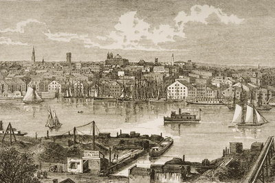 Baltimore, in c.1870, from 'American Pictures' published by the Religious Tract Society, 1876 Fine Art Print by English School