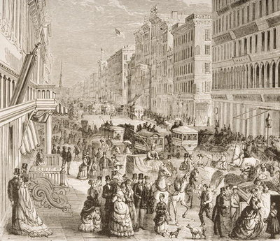 Broadway, New York City, c.1870, from 'American Pictures', published by The Religious Tract Society, 1876 Fine Art Print by English School
