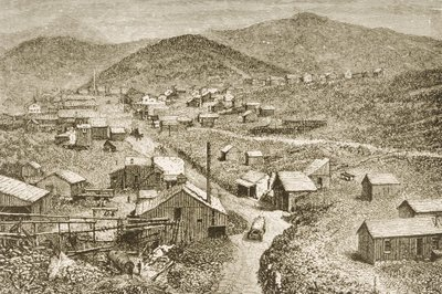 Silver City, Nevada, c.1870, from 'American Pictures', published by The Religious Tract Society, 1876 (engraving) Postcards, Greetings Cards, Art Prints, Canvas, Framed Pictures, T-shirts & Wall Art by English School