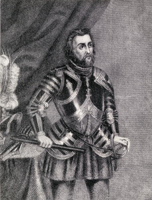 Hernan Cortes, Marques del valle de Oaxaca (1485-1547) (engraving) Fine Art Print by Spanish School