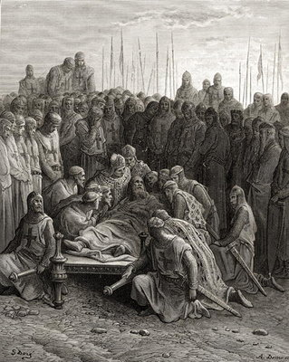 Death of Baldwin I (1171-1205) the Latin King of Jerusalem, illustration from 'Bibliotheque des Croisades' by J-F. Michaud, 1877 (litho) Postcards, Greetings Cards, Art Prints, Canvas, Framed Pictures & Wall Art by Gustave Dore