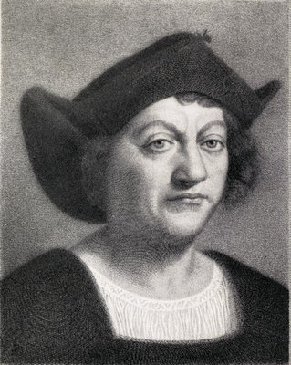 Christopher Columbus (1451-1506) illustration from 'The Quest of The Indies', published 1920 (litho) Fine Art Print by English School