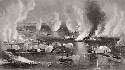 The capture of Forts Jackson amd St. Philip during the American Civil War, Louisiana 1862 Fine Art Print by American School