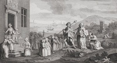 The Foundlings, engraved by F. Morellon La Cave Fine Art Print by William Hogarth