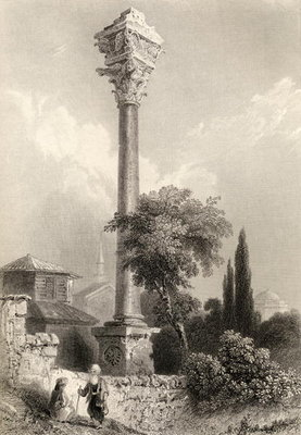 Column of Marcian, Istanbul, Turkey, engraved by H. Adlard Fine Art Print by William Henry Bartlett