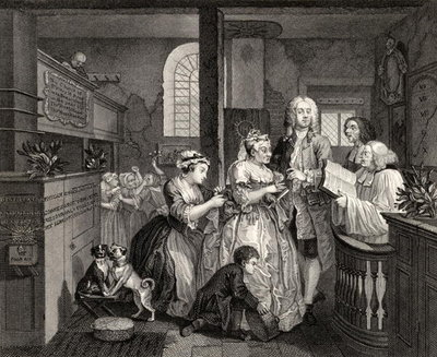 Married to an Old Maid, plate V from 'A Rake's Progress', from 'The Works of William Hogarth', published 1833 (litho) Postcards, Greetings Cards, Art Prints, Canvas, Framed Pictures & Wall Art by William Hogarth