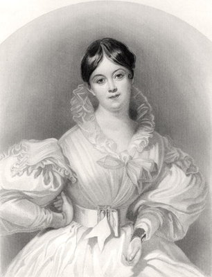 Letitia Elizabeth Landon, engraved by J. Thompson, from 'The National Portrait Gallery, Volume IV', published c.1820 Fine Art Print by G. Machse