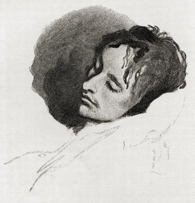 John Keats in his Last Illness, from 'The Century Illustrated Monthly Magazine', May to October, 1883 (engraving) Postcards, Greetings Cards, Art Prints, Canvas, Framed Pictures, T-shirts & Wall Art by Joseph Severn