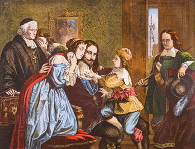 King Charles I of England taking leave of his children before his execution, from 'Old England's Worthies' by Lord Brougham and others, published London, c.1880s Fine Art Print by English School