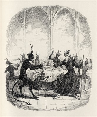 The Lay of St. Cuthbert, from 'The Ingoldsby Legends' by Thomas Ingoldsby, published by Richard Bentley & Son, 1887 (litho) Fine Art Print by George Cruikshank