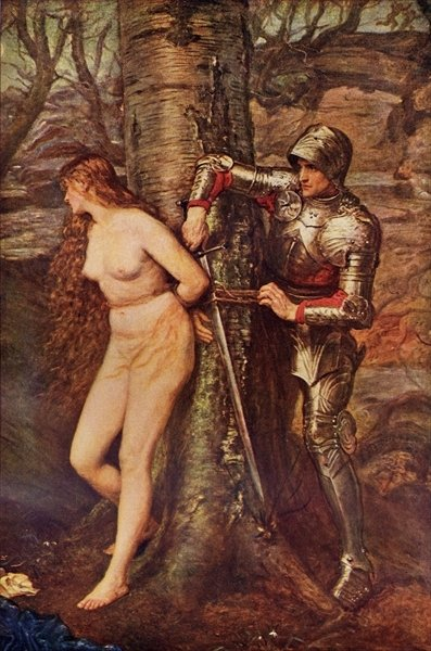 A Knight-errant - Figure of chivalric romance literature, illustration from 'Romance and Legend of Chivalry' by A. R. Hope Moncrieff (colour litho) Wall Art & Canvas Prints by Sir John Everett Millais
