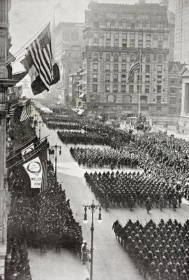 American troops marching down Fifth Avenue in New York on their return from Europe after the First World War, from 'L'Illustration', published in 1919 Fine Art Print by French School