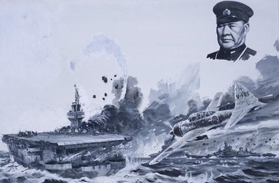 Japanese Kamikaze Attacks during World War II Fine Art Print by Graham Coton