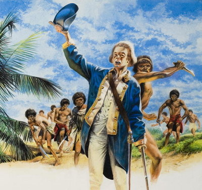 The End of James Cook (1728-79) 14 February 1779 (gouache on paper) Fine Art Print by Oliver Frey