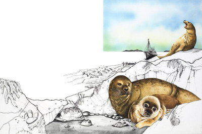 A seal with her pups Fine Art Print by Susan Neale
