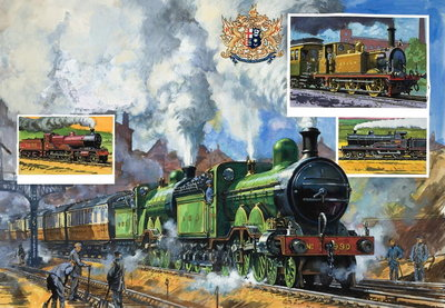 A Great Northern express leaving King's Cross Fine Art Print by Harry Green