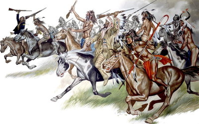 Native American Indians on Horseback Fine Art Print by Ron Embleton