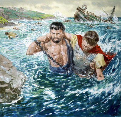 The Story of Paul Retold, The Great Shipwreck Fine Art Print by Clive Uptton