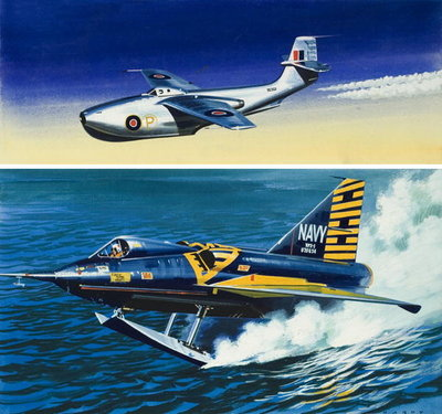 Flying Boat Fighter (gouache on paper) Wall Art & Canvas Prints by Wilf Hardy