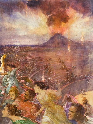 Eruption of Vesuvius Fine Art Print by John Millar Watt