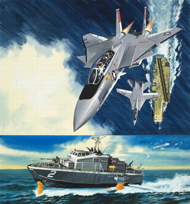 Aircraft and Hydrofoil (gouache on paper) Postcards, Greetings Cards, Art Prints, Canvas, Framed Pictures, T-shirts & Wall Art by Wilf Hardy